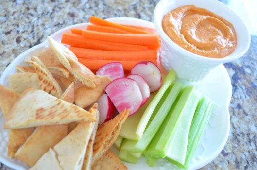 Charleston Cheese Spread with homemade pita chips and vegetables