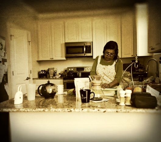 My mom cooking away.